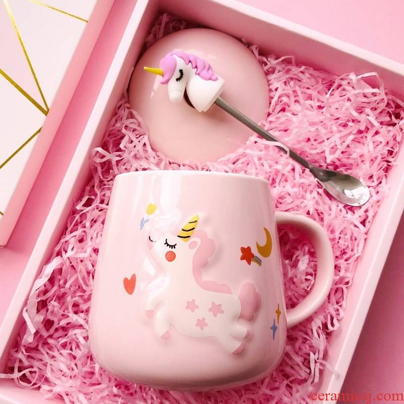 The Food and beautiful female express cartoon thermostatic mini ceramic cup the couples unicorn girl heart children portable drinking water