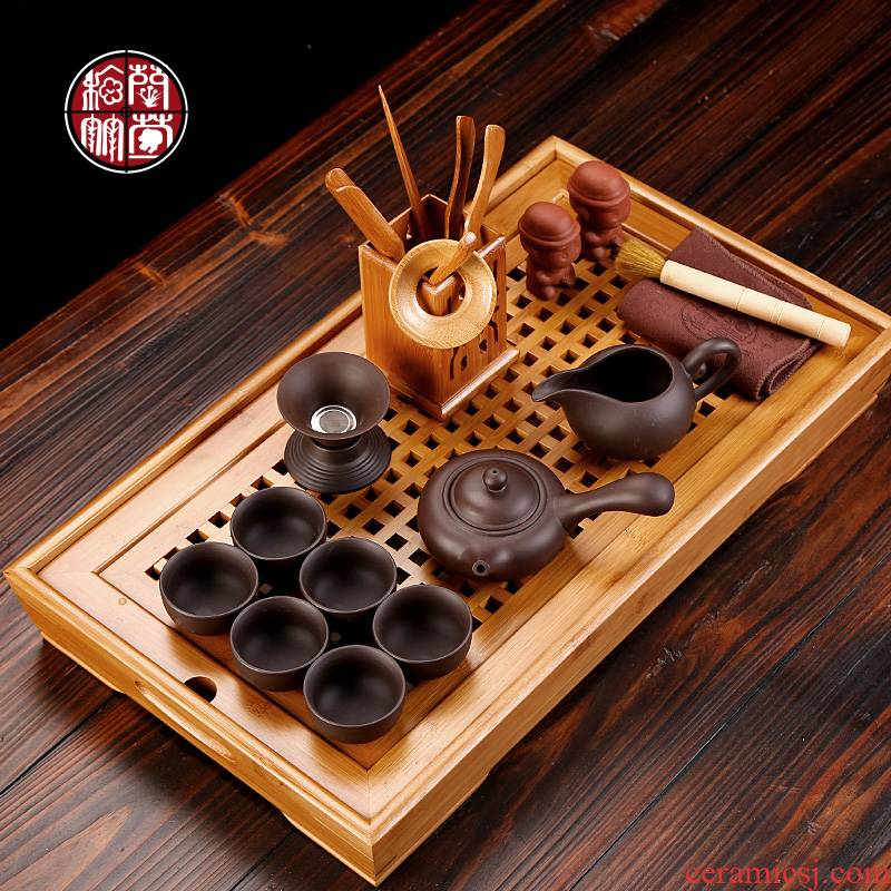Small kung fu tea set pack of a complete set of mini purple ceramic simple household bamboo tea tray tea cup 6 office