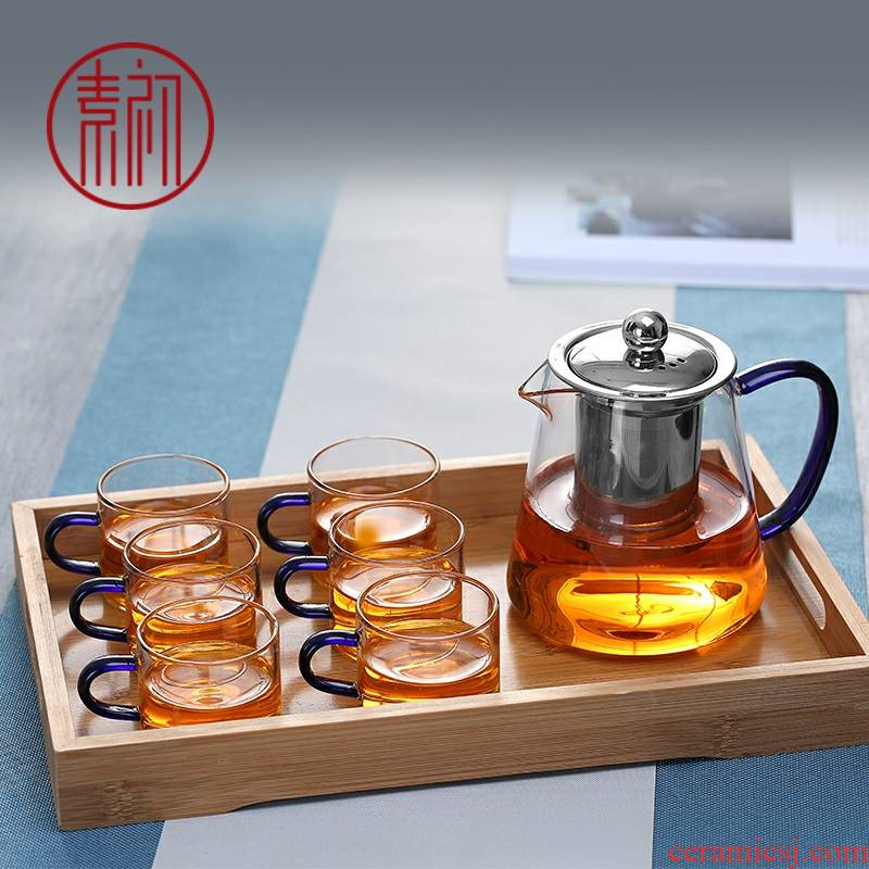 Small element at the beginning of the heat - resistant glass cup upset the teapot teacup tea kungfu tea set with put six trumpet