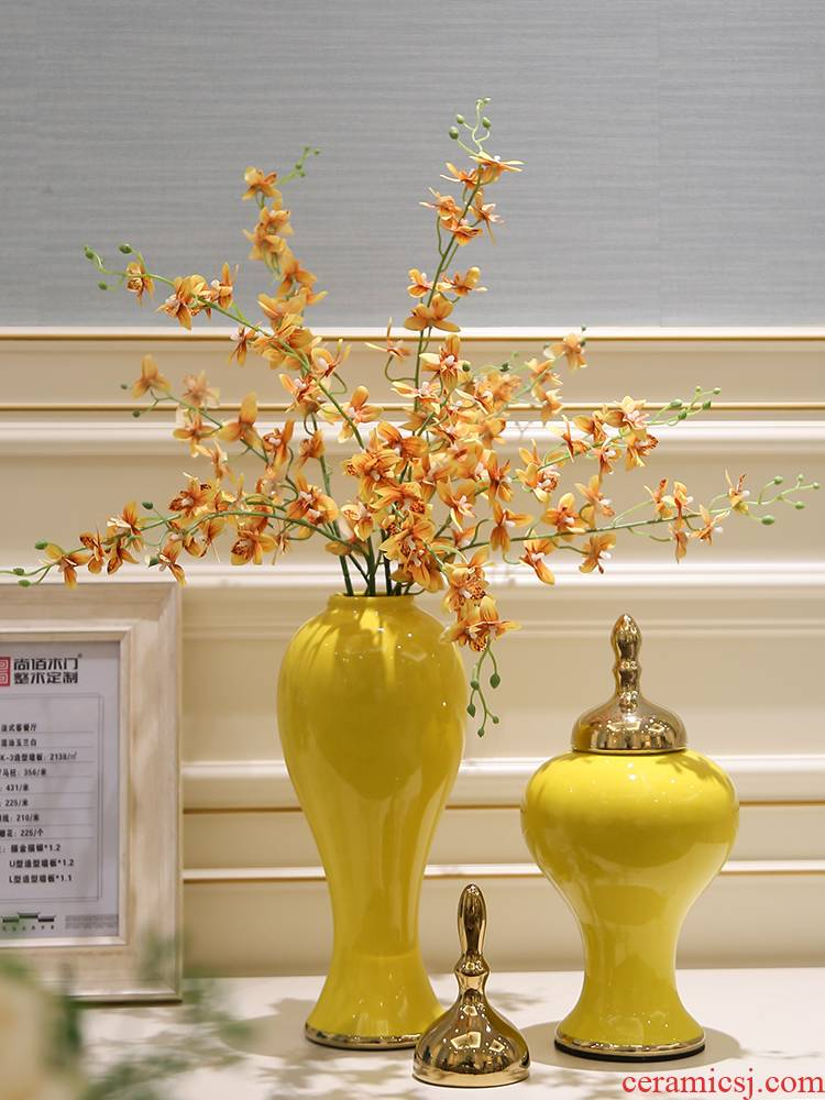 I and contracted mesa vases, ceramic flower light European - style key-2 luxury furnishing articles porch flower arrangement, the living room table decorations