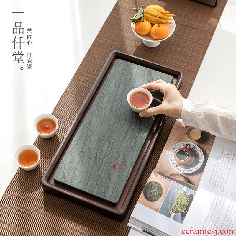 Yipin # $ebony wood tea tray was dry mercifully tea tray bamboo plate tray was sharply drainage of large stone panel