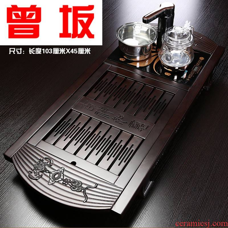Once sitting xiangyun ebony wood tea tray was water drainage double glass pot of automatic induction cooker mixture