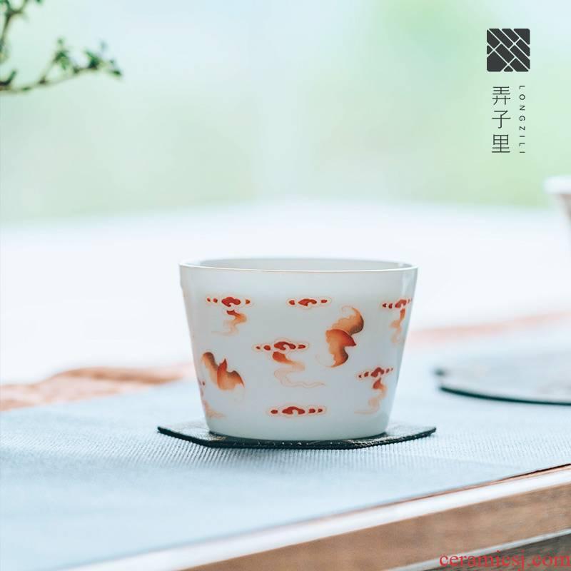 Lane. Five blessings. Jingdezhen checking ceramic hand - made sample tea cup tea cup white porcelain, master