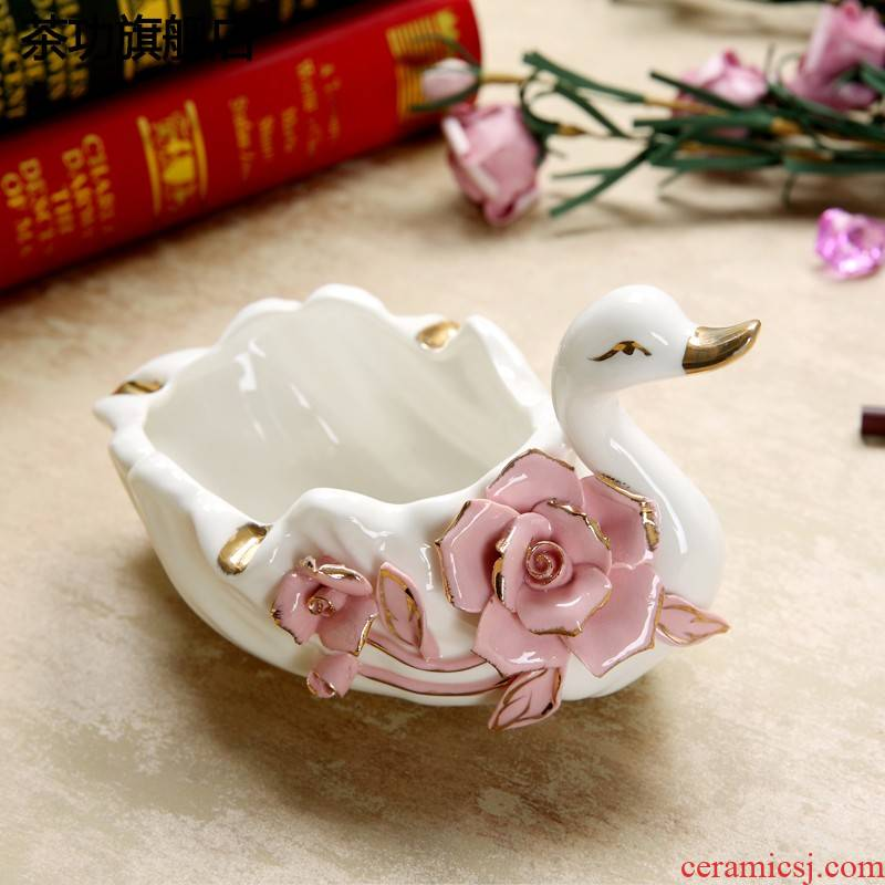 European porcelain swan ashtray household vogue to live in the sitting room of creative move furnishing articles decoration decoration tea table