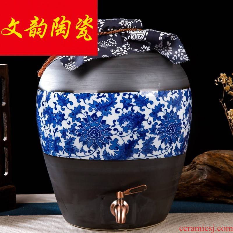 Jingdezhen ceramic jar 10 jins of 50 pounds to restore ancient ways mercifully jars empty bottles of blue and white wine bottle grinding
