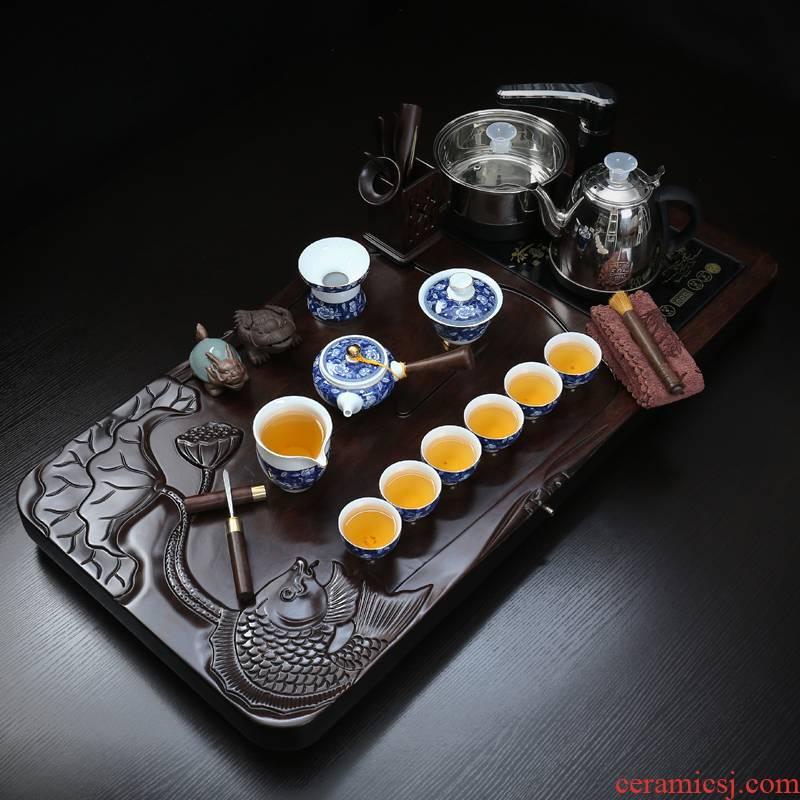 True sheng ebony wood tea tray tea set kung fu tea cups home a complete set of automatic teapot tea taking