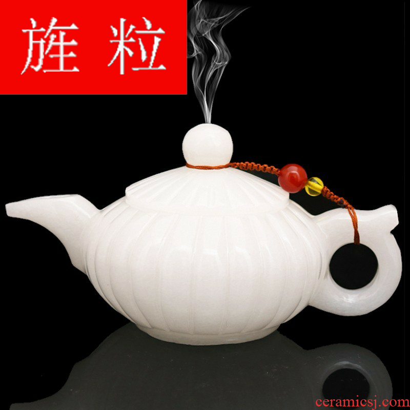 Continuous grain of Afghanistan white jade jade wine pot set jade cup glass household craft gift