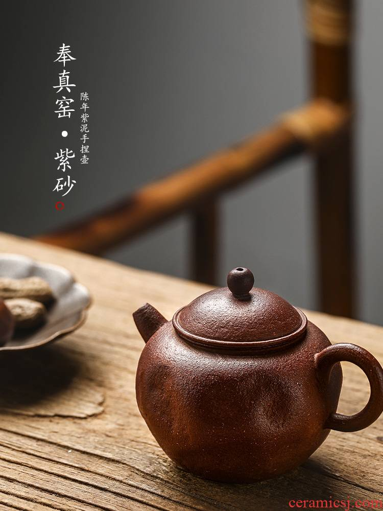 It Chinese kungfu tea teapot jingdezhen pure manual small single pot of household ball hole hand in true up with pot