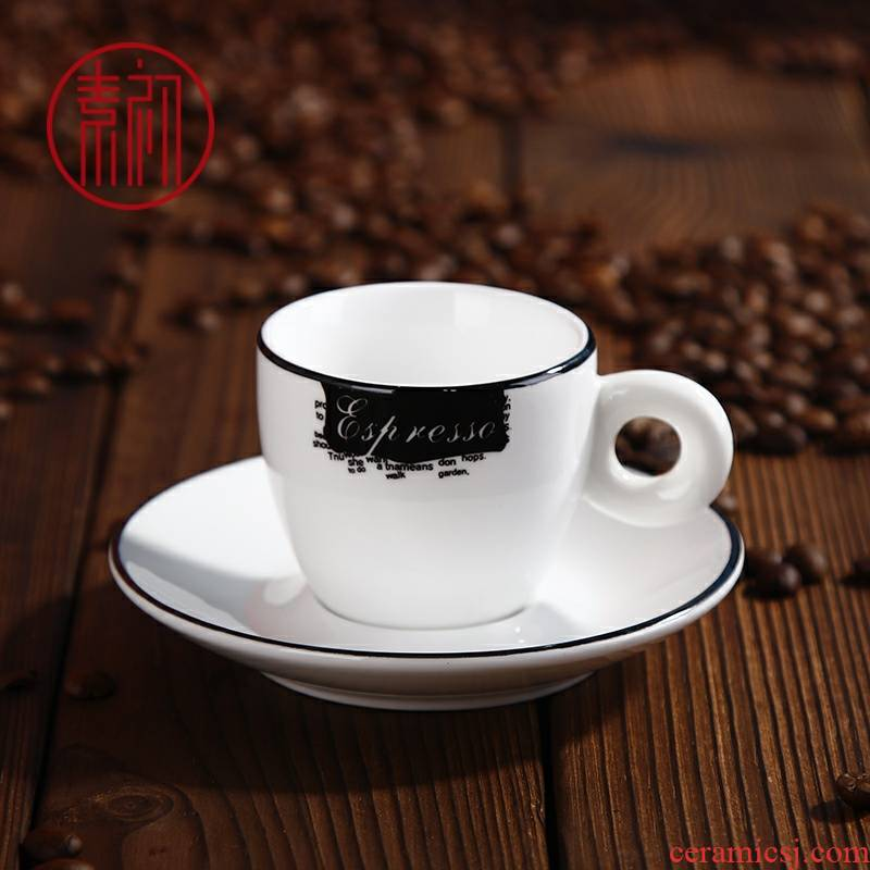 Early, coffee cups and saucers contracted shot Italian suit ceramic double concentration, thick black line 65 ml cups