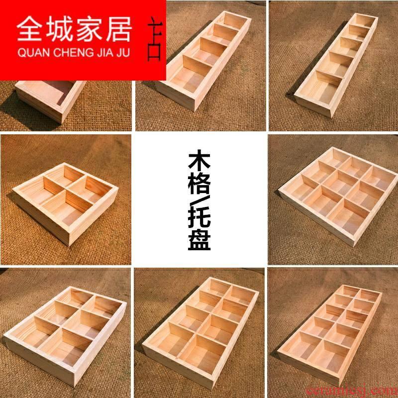 The Fleshy ceramic flower pot tray bottom drag wooden wooden rectangular rectangular grid suit