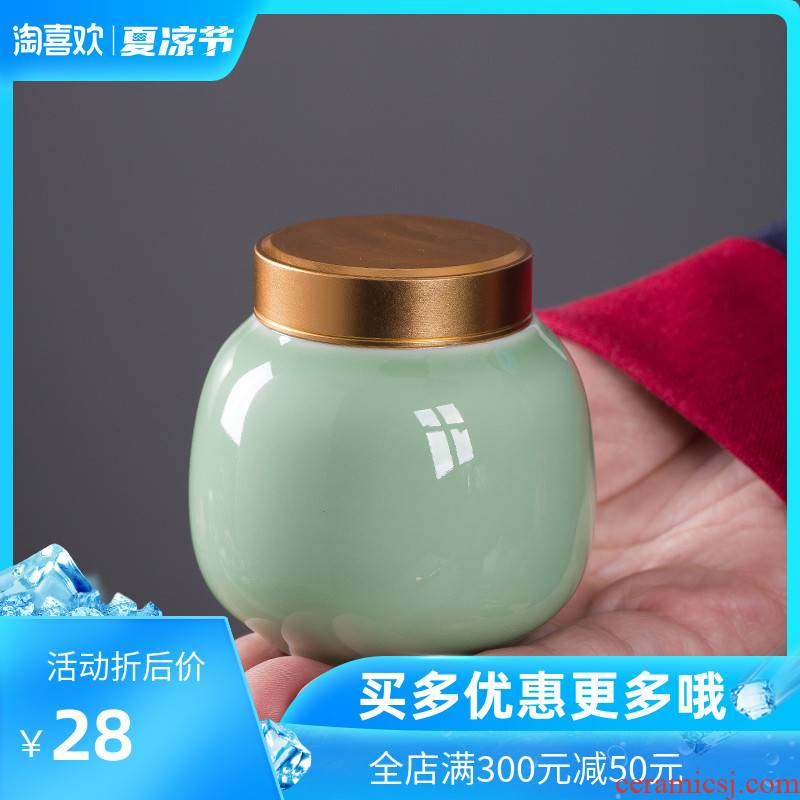 The Crown chang mini caddy fixings ceramic metal cover seal tank storage tank with portable travel small caddy fixings celadon