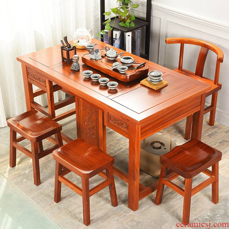 Howe cheung hua limu tea table annatto furniture of new Chinese style furniture combination solid wood tea tea table of kung fu tea table
