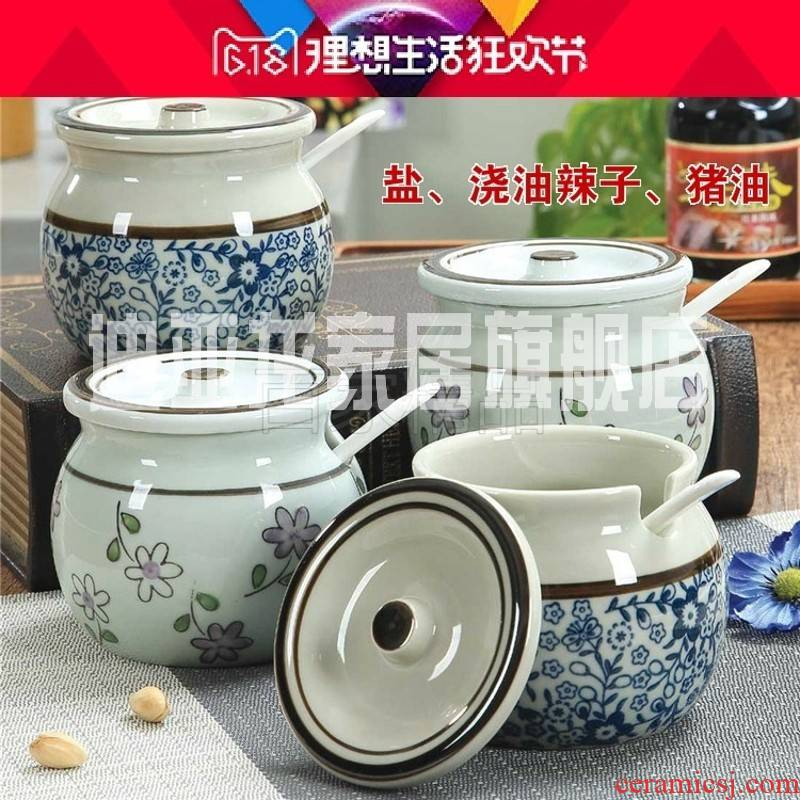 Chili pepper as cans of high - temperature filling have treasure bowl restaurant put pot cover a single glass ceramic jar with cover a spoon