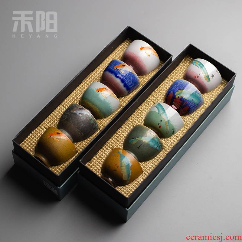 Send Yang ceramic kung fu masters cup single sample tea cup to restore ancient ways small cups of tea set gift boxes to customize