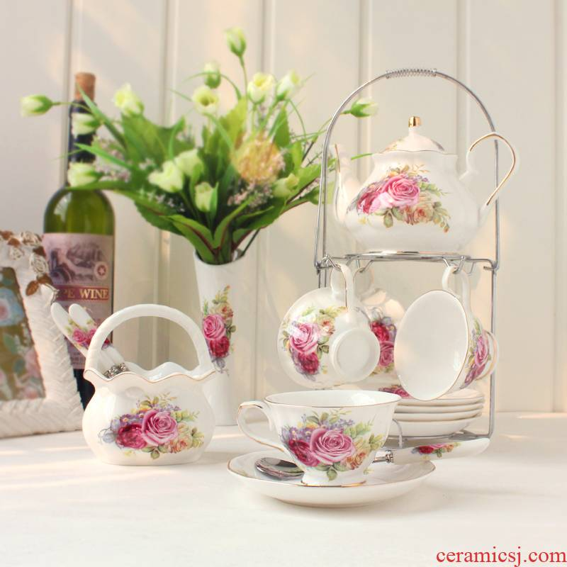 European ipads China coffee cups and saucers suit red cup teapot tea set household decoration decoration tea in the afternoon