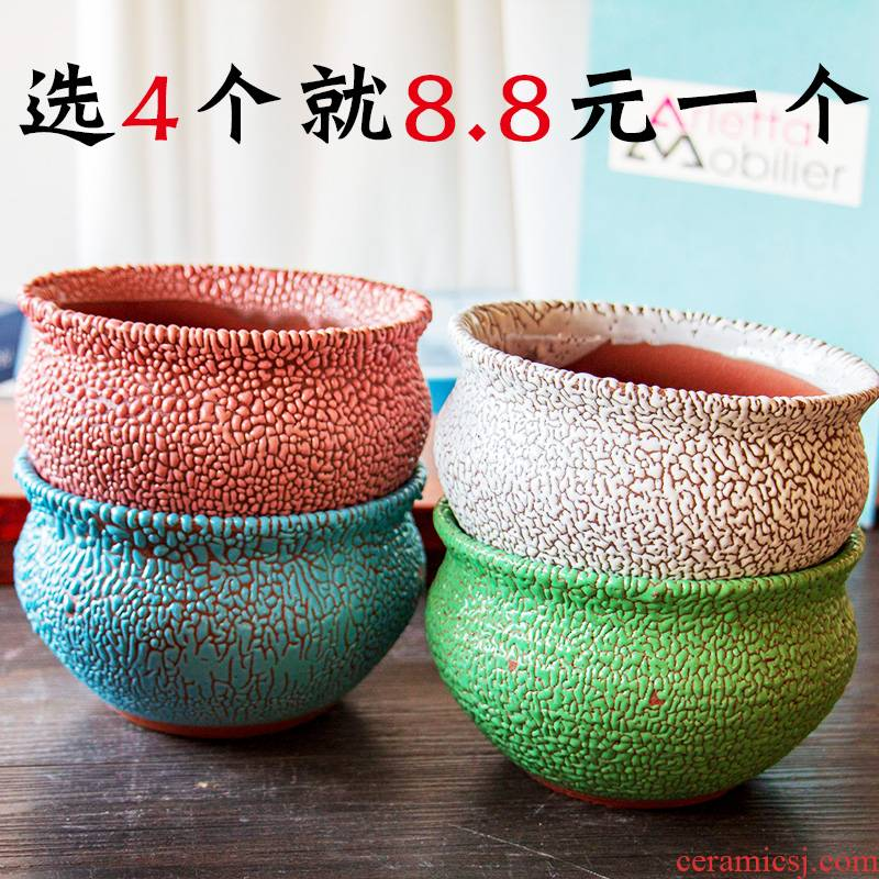 Mage old running more meat high pot through pockets ceramic plant POTS, purple sand pottery and porcelain clay medium size wholesale