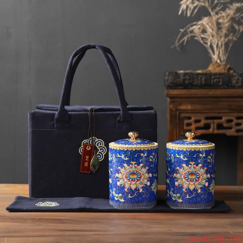 Colored enamel porcelain tea pot more small seal pot court wind household storage tanks pu 'er tea boxes
