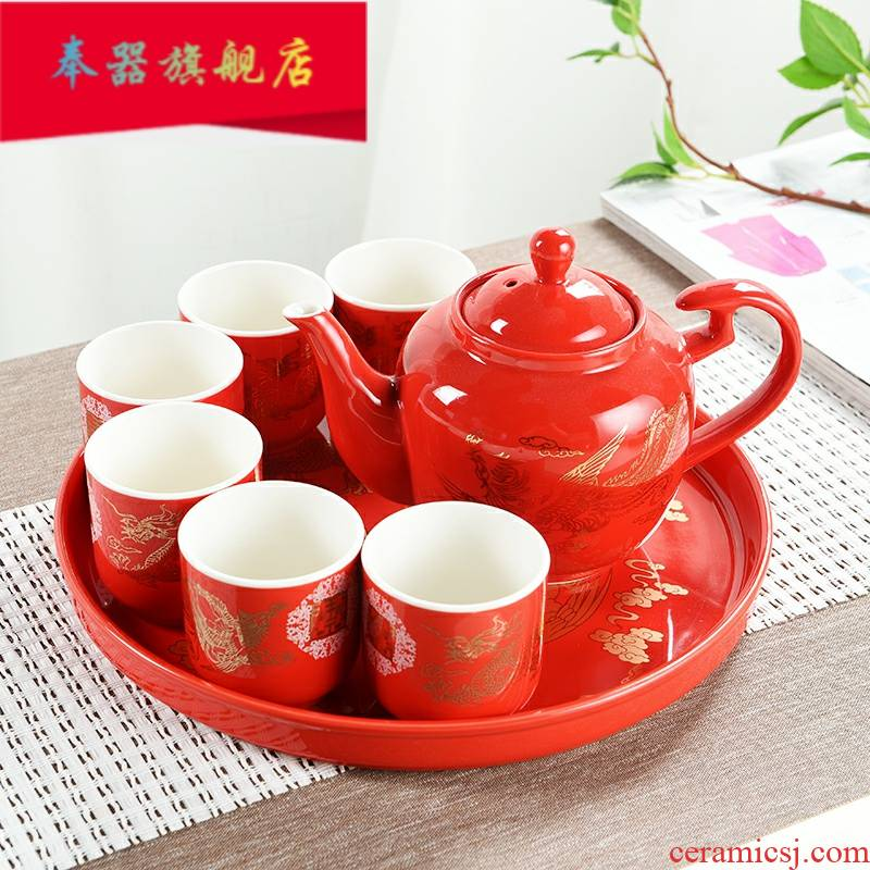 I to tea cups suit wedding teapot red tea tray was Chinese pottery and porcelain teacup household wedding gifts