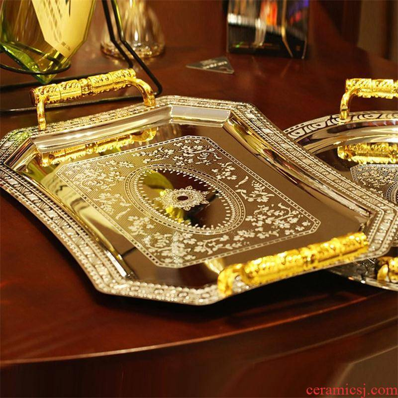 The Import process rectangle stainless steel wine tray tea tray was European - style home sitting room decoration decoration circular plate