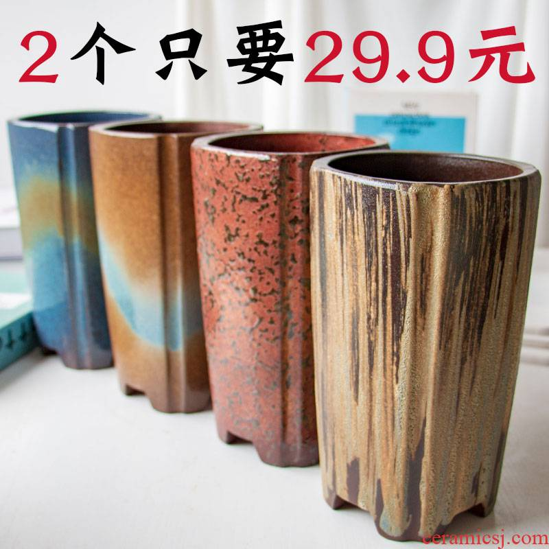 Meaty plant flower pot is more than meat pot coarse pottery, the plants creative ceramic contracted large move basin thousand cylinder