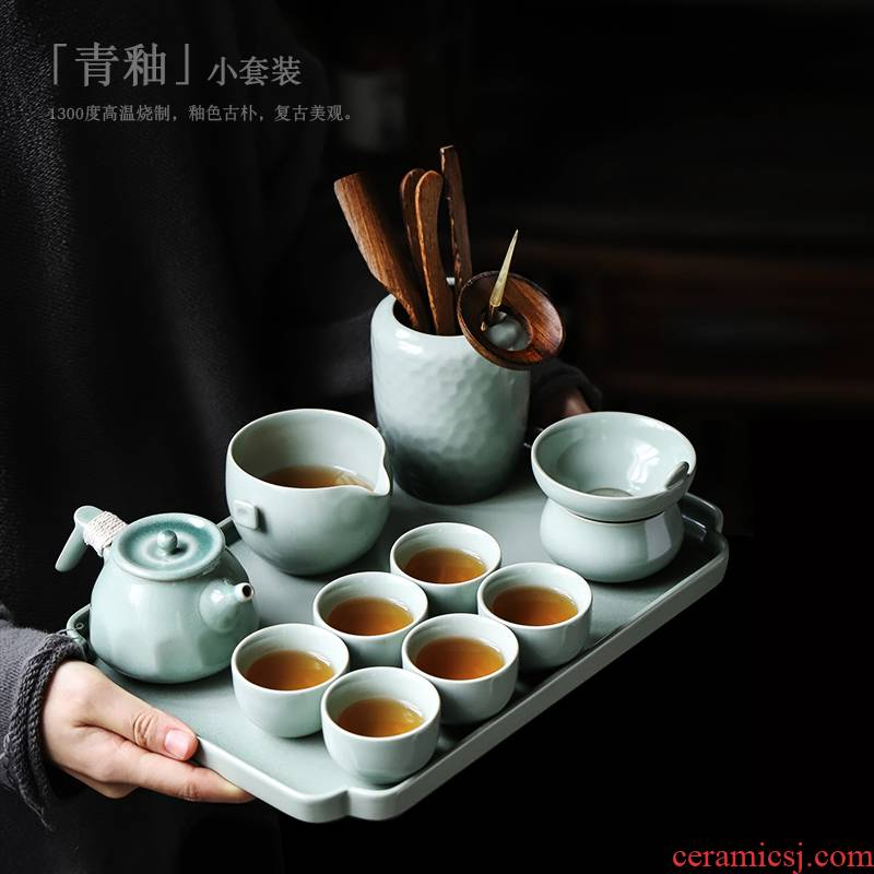 ShangYan Japanese kung fu tea set suit household contracted ceramic lid small bowl of a complete set of tea cups of tea sets