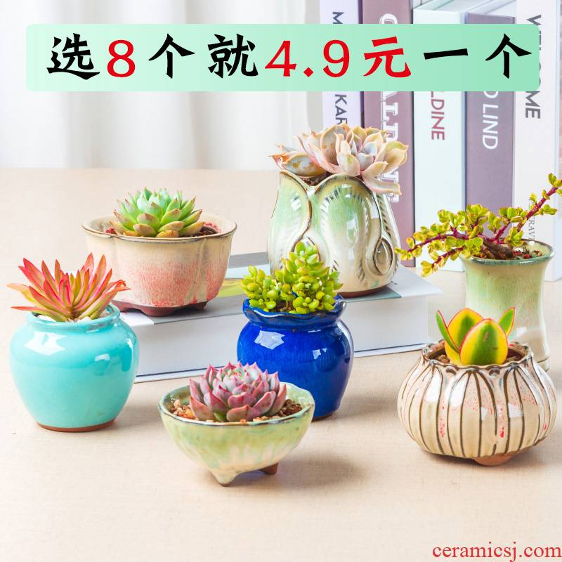 Meaty plant flower pot is more than meat flowerpot coarse pottery ceramic simple plastic new small green the plants in large move