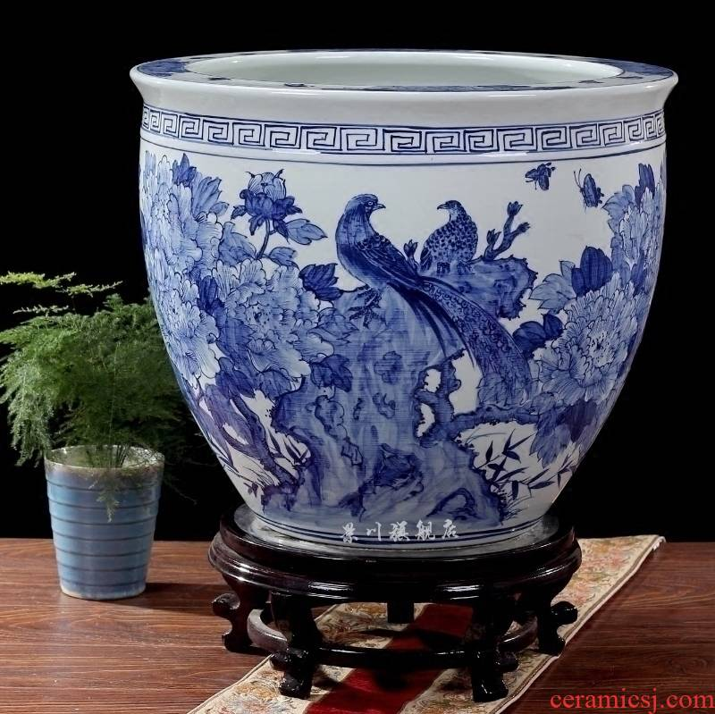 Blue and white porcelain of jingdezhen ceramics hand - made bright future water lily gold tortoise aquariums household adornment furnishing articles