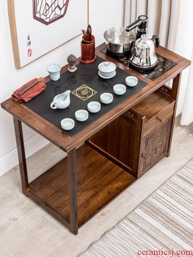 Can move solid wood tea sets tea tea tea sea shelf rack automatic boiling water tea house with contracted tea tank