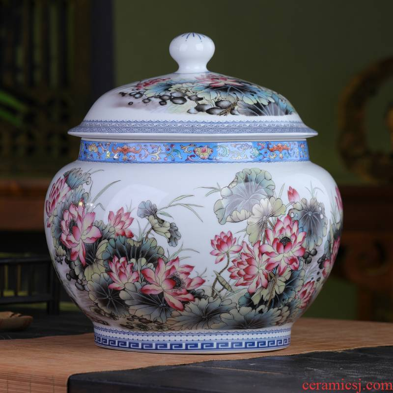 Jingdezhen antique pu 'er tea pot ceramics with cover large seal pot home moistureproof tea cake storage tanks