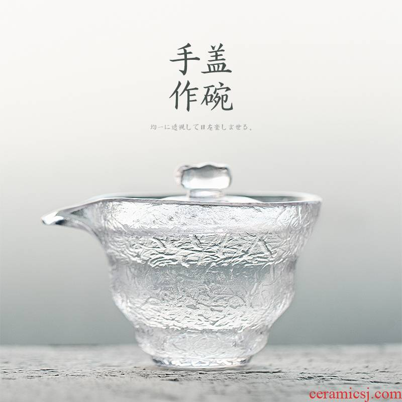 Tureen thickening heat - resistant glass cup hammer eye only three bowl bowl transparent large tea, kungfu tea set