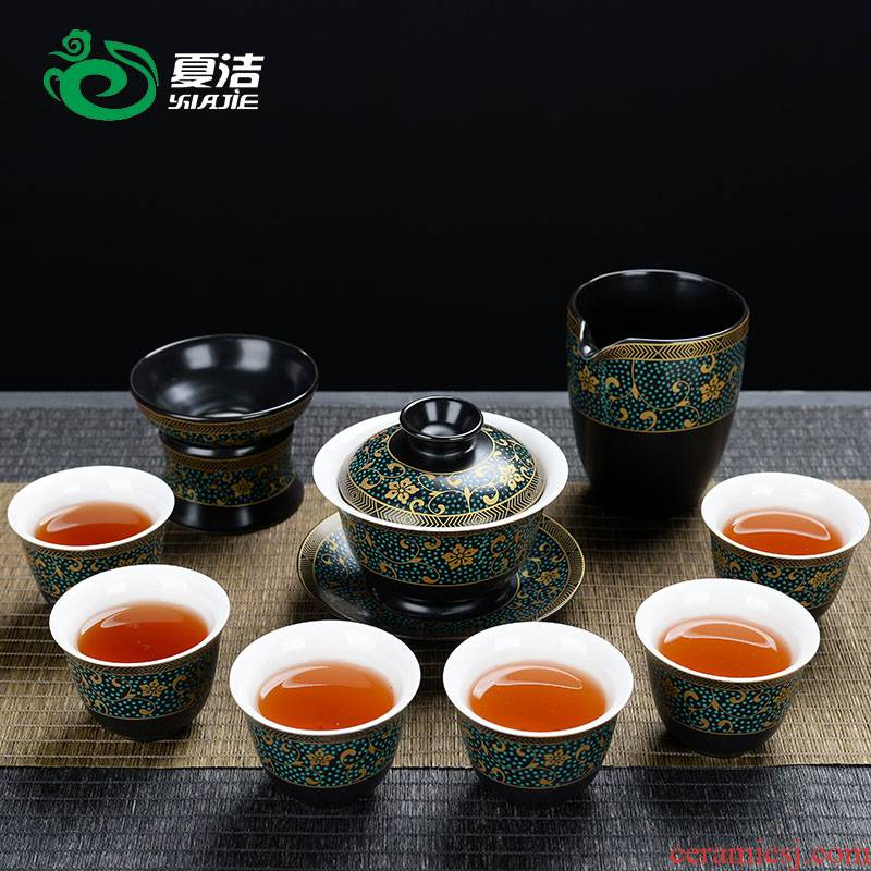 Four - walled yard kung fu tea set of household ceramic teapot teacup tea tureen modern simplicity of a complete set of tea taking