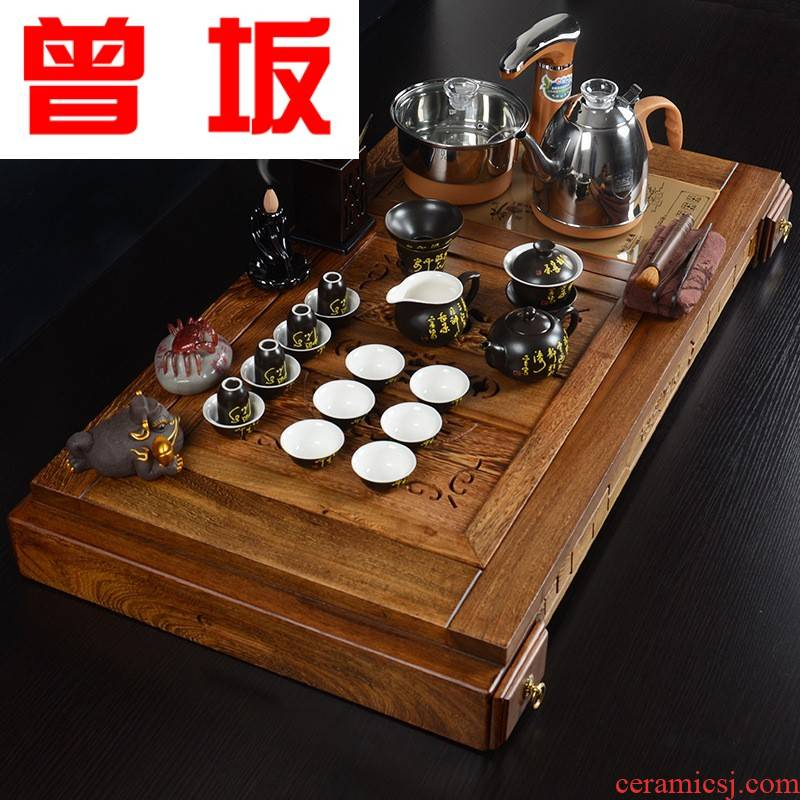 The Who -- solid wood frame feel kung fu tea tray and exquisite pavilion tea sets new violet arenaceous automatic sheung shui