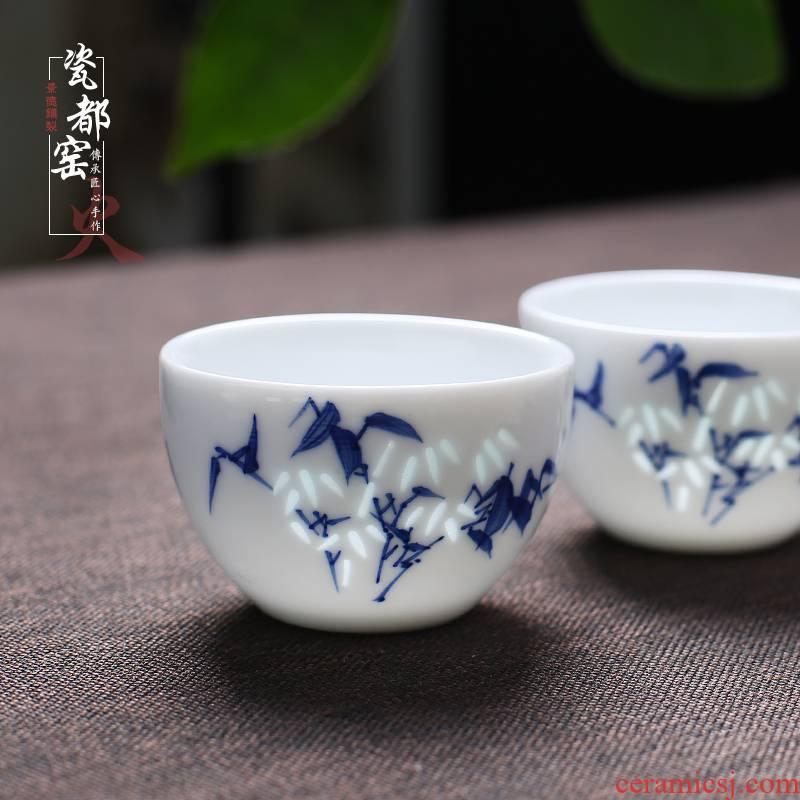 Jingdezhen ceramic sample tea cup single green tea white porcelain, exquisite hand - made single master kung fu tea cups