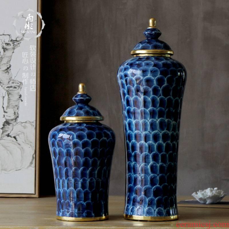 Rain tong household paint edge creative blue with cover | jingdezhen ceramics ceramic pot sitting room porch place porcelain