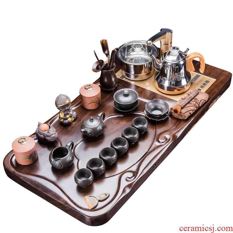 I hold the whole piece of ebony wood, purple sand tea tray was kung fu tea set four one household contracted large tea