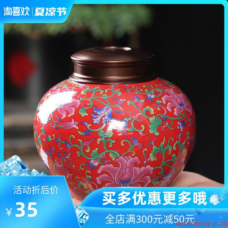 Chang ceramic crown seal pot home moisture storage tank tea caddy fixings in creative fashion small colored enamel porcelain jar