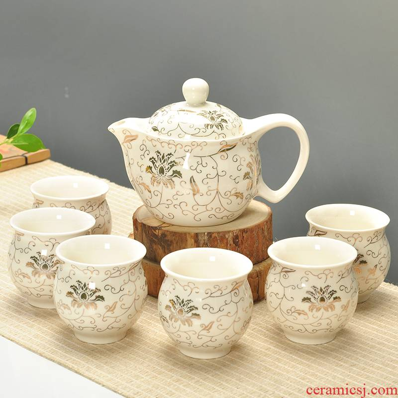 Double blue and white ceramic teapot teacup kung fu belt filter kung fu tea tea cup set on sale