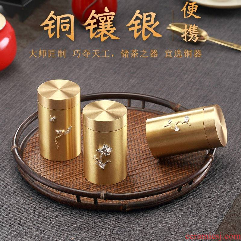 Morning high pure copper with silver caddy fixings portable small POTS household mini POTS kung fu tea set seal storage tank