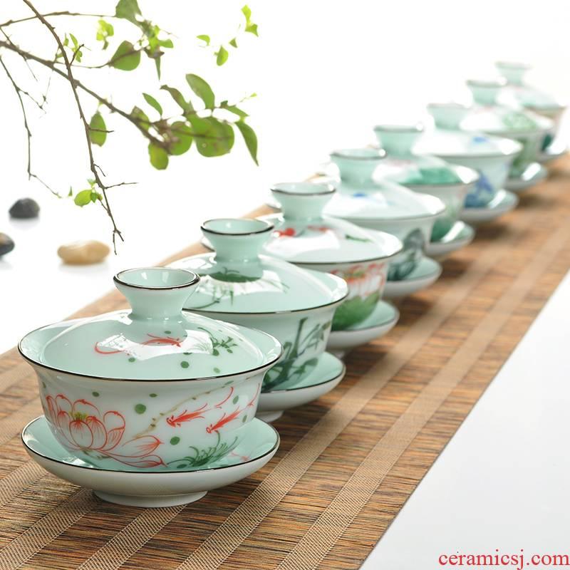 The Art of celadon manual hand - made tureen ceramic only three home small bowl kung fu tea tea bowl to bowl