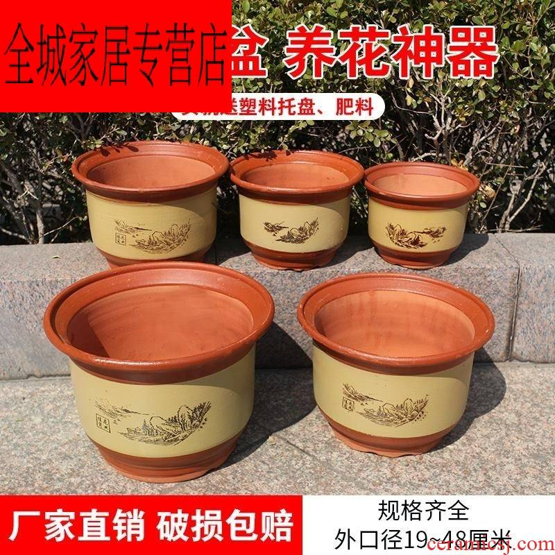 Clay old tray with big ceramic landscape breathable purple sand Clay oversized mud made of baked Clay flowerpots large sets