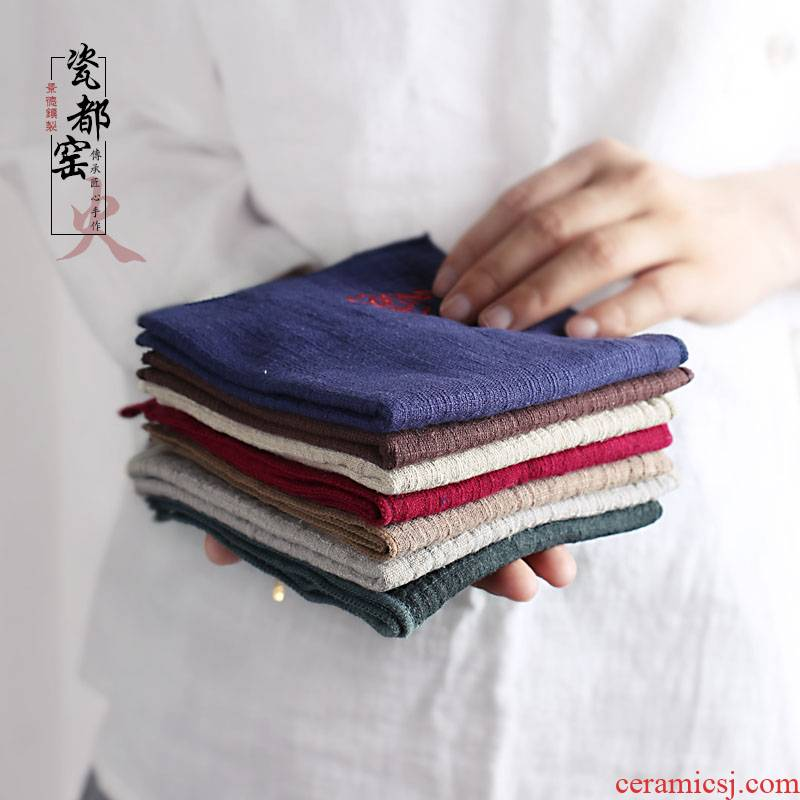 Absorbent cotton and linen household of Chinese style tea table cloth embroidery zen tea towel tea table cloth kung fu tea accessories