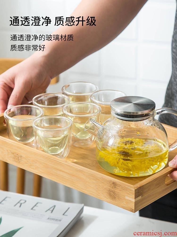 Glass tea set kung fu tea cups office transparent contracted and I high temperature resistant black tea tea teapot household