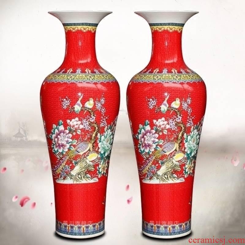 Jingdezhen ceramics powder enamel vase flower arranging big sitting room ground study furnishing articles European household craft supplies