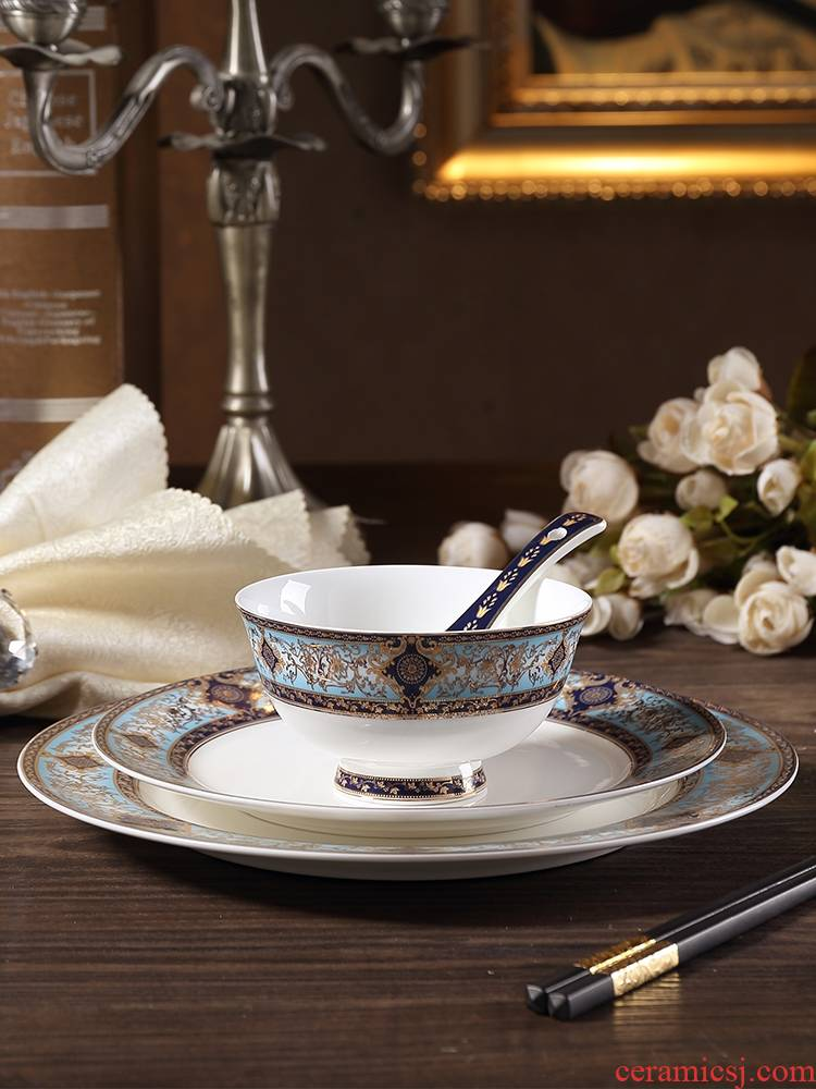 Qiao MuBo sago blue European - style ipads porcelain tableware suit American western - style food table dish between example home dishes dishes