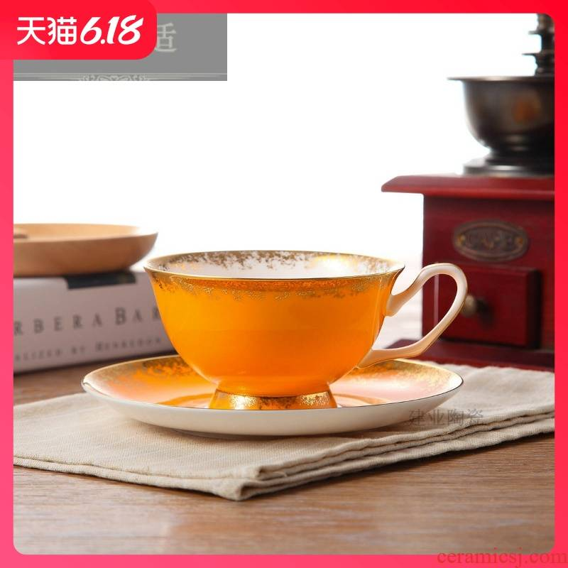 Hold to guest comfortable European pure color coffee cups and saucers suit household ceramic cups water cup ipads porcelain factory men and in the afternoon
