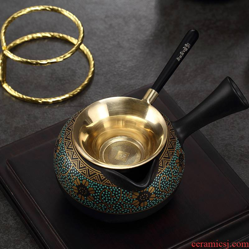 Morning high pure copper) filter kung fu tea tea accessories make tea, tea tea strainer creative Japanese insulation