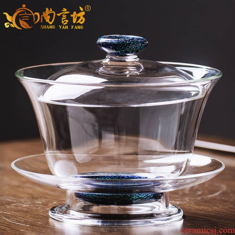 It still fang glass tureen kung fu tea set three to make tea tea cup large transparent heat - resistant high - temperature household