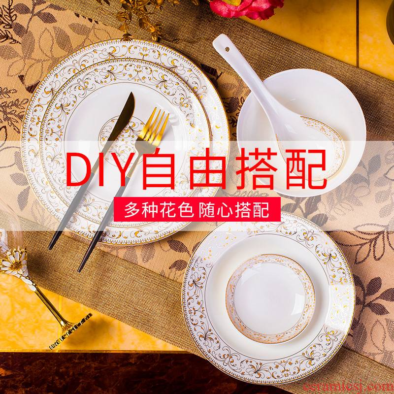 Dishes suit household jingdezhen ceramic tableware chopsticks Dishes ipads bowls food dish plate character combination