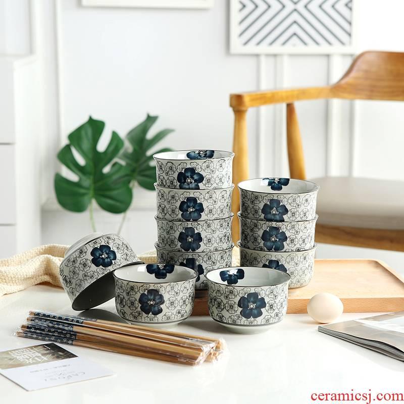 Jingdezhen ceramic bowl Japanese tableware suit creative 10 eat a bowl of rice bowl bowl household small bowl