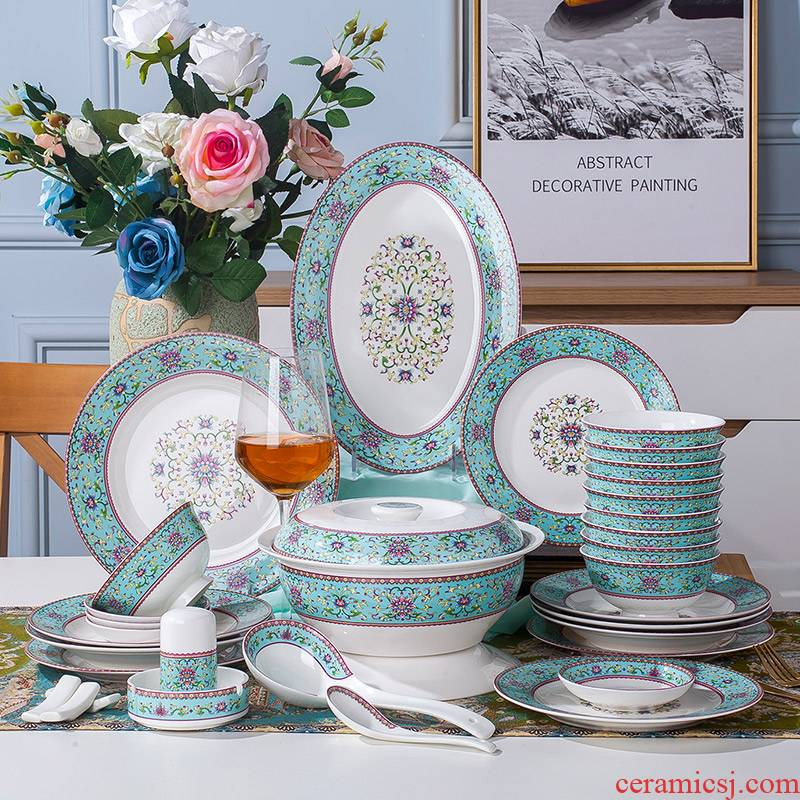 Jingdezhen ceramic tableware suit American dishes suit household bowls of ipads plate of Chinese famille rose 56 head is small